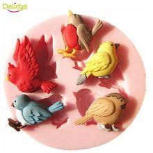 1 PC 3D Molde Do Bolo Do Silicone Novo Design de 5 Aves Bonito pássaro De Chocolate de Cozimento Molde Sabão Bolo Decoração Ferramenta Bolo DIY moldes(China (Mainland))