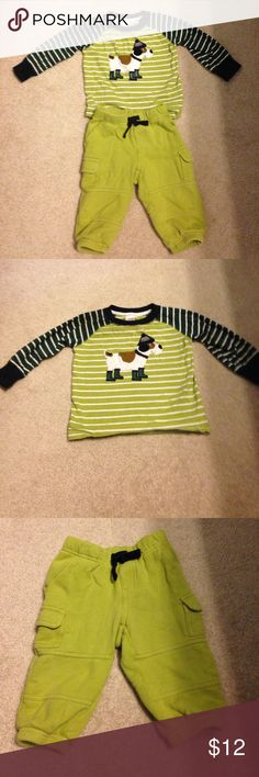 Gymboree baby boy sweatpants outfit This sweatpants set is comfy and adorable for your little one. The pants are cargo and are the color green. The shirt is dark green and with light green and white strips with a dog on the front. In great condition Gymboree Matching Sets