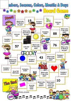 Board games 356065914283516218 - Months, days, colors and seasons board game. worksheet – Free ESL printable worksheets made by teachers Source by Vocabulary Games, Grammar And Vocabulary, English Vocabulary, Vocabulary Strategies, English Games, English Activities, English Lessons, Learn English, Ingles Kids