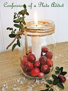 Just anchor a candle inside a Mason jar using candle wax or wax buttons. Then add fresh cranberries and wrap jute twine around the rim. Add a sprig of boxwood for a festive touch. Christmas Mason Jars, Christmas Candles, Simple Christmas, Christmas Crafts, Christmas Ideas, Country Christmas, Christmas Wishes, Christmas Traditions, Merry Christmas