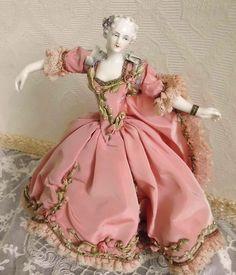 Pristine Dressel & Kister Half Doll w Legs French Silk Dress Ribbon from 2much2keep on Ruby Lane