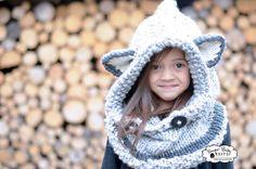 Knit Fox Hood  Grey Chunky Knit Hood Customized by SugarBabyKnits