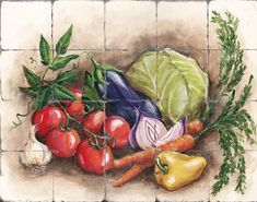 Tuscany vegetable Decor | Tre Sorelle's Art Licensing Program Fallen Fruits, Miniature Dollhouse Accessories, Decoupage, Still Life Oil Painting, Hand Painted Plates, Tile Murals, China Painting, Fruit Art, Decorative Tile