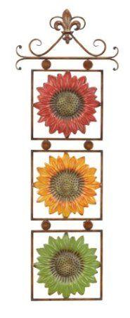 Amazon.com: Sunflowers On Scroll Metal Wall Art Decor Sculpture: Home u0026  Kitchen