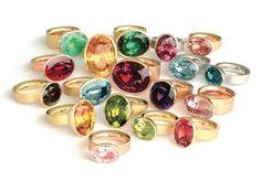 Multi-coloured gemstone rings by Georg Spreng #rainbow