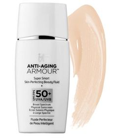 Though it truly feels like you're not wearing anything at all, this sheer tint protects skin from UVB and UVA rays and provides anti-aging benefits. Peptides help reduce the look of wrinkles, niacin repairs skin's barrier, collagen gives a smooth appearance, and antioxidants protect from free radical damage. Wear it under makeup like a sunscreen or wear it alone for a one-step morning routine that quickly evens out your complexion (and gives it a glow, too).