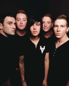Sleeping With Sirens: Jack (far left), jesse (next to jack), Kellin (middle), gabe (right to kellin), Justin (far right)