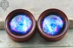 Blood wood with pressed glass Inlay This is one of a kind, no other pair out there like this. I can also have wood plugs custom made. Just Ask.  Double Flare. Carved locally in Seattle. - $85.00 #laughingbuddha