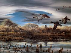 """""""Spring Thaw"""" a classic print by Terry Redlin, newly issued as a preframed Master Classic print. Wildlife Paintings, Wildlife Art, Avon, Terry Redlin, Hunting Art, Duck Hunting, Waterfowl Hunting, Cowboy Art, Country Art"""