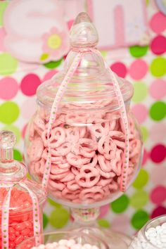 Nuts.com Baby Girl Shower Candy Buffet white chocolate, red food coloring and pretzels