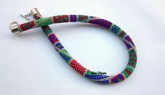 Bead Crochet Necklace  Dark Colors Beaded Necklace  by alevduzen