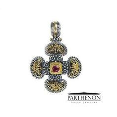 Greek handmade, Gerochristo Sterling Silver and Solid Gold Maltese Cross Pendant. This gorgeous Cross is from our Maltese Crosses Collection. Stone(s): Ruby. Ebay Shopping, Christian Symbols, Greek Jewelry, Maltese Cross, Cross Pendant, Decorative Bells, Solid Gold, Handmade Jewelry, Sterling Silver