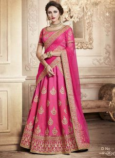 An energetic colour-play of red, pink and shades of green- this ombre jacquard silk lehenga choli is designed to pamper the ethnic princess in you. Flowers in shimmery and fiery colours give a vibrant look to the green ombre jacquard silk lehenga while th Indian Lehenga, Lehenga Style Saree, Pink Lehenga, Party Wear Lehenga, Bridal Lehenga, Bollywood Lehenga, Lehnga Dress, Lehenga Choli Designs, Ghagra Choli