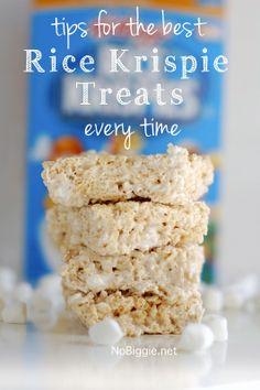 tips for the best Rice Krispie Treats every time - via NoBiggie.net