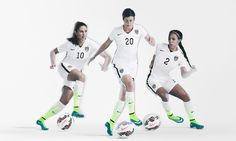 Carli Lloyd, Abby Wambach, Sydney Leroux in new home kit from Nike. (U.S. Soccer)