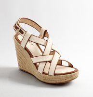 """Lena Canvas Wedge Espadrilles - Strappy meets laid-back cool with these modern espadrille wedges that are just right for day or night. Leather piping. Canvas footbed. Adjustable buckle at ankle. 4"""" jute-covered heel."""