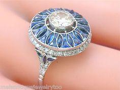 ESTATE-ART-DECO-1-35ctw-DIAMOND-2-50ctw-BLUE-SAPPHIRE-ENGAGEMENT-COCKTAIL-RING