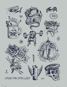Inspiration Spring Summer 2013 - documenting the everyday through tattoo-inspired designs Tattoo Flash Sheet, Tattoo Flash Art, Sheffield Steel, Tattoo Illustration, Compass Tattoo, Shades Of Blue, Art Sketches, Tatting, Vintage World Maps