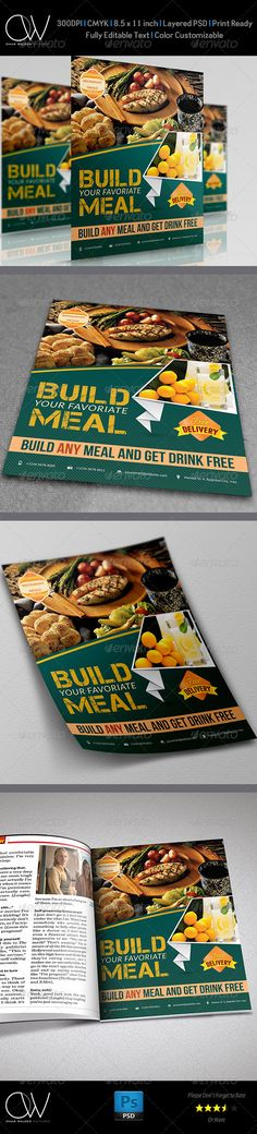 "Restaurant Flyer  #GraphicRiver                               Flyer Description: Restaurant Flyer was designed for exclusively corporate and small scale companies. Also it can be used for variety purposes. Click on preview image to see further details. I hope you like it guys. Flyer Feature:   Fully Layered PSD files   Easy Customizable and Editable  8.5"" x 11"" (8.75"" x 11.25"" with bleed setting)  CMYK Colors  300 DPI resolution  Print Ready Format   Only Free Fonts Used: Font.txt with…"