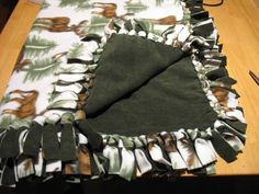 Step by Step instructions to make a No-Sew Fleece blanket, brought to you by Bunyworks.net. Your blanket can be any size. Fleece comes 60-inches wide, so your blanket can be 60 x ??? Your finished product will be about 10-inches smaller than the fabric you start with.