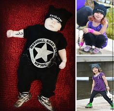 Waylon James  Lucy Lou  Gracy LouAnn   Same hat  Hand me downs  Brother and sisters  Rockstar  BBT Style   Tied by Ti Outfit  Upcycles   Rocker kids  Kids fashion  Trendy kids  Baby fashion