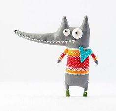 Little wolf in the pullover by MarLitoys on Etsy Brooches Handmade, Handmade Toys, Felt Crafts, Fabric Crafts, Ugly Dolls, Fabric Animals, Diy Couture, Fabric Toys, Kids Pillows