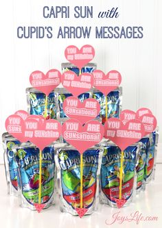 Valentine's Day Party Ideas like Capri Sun Cupid's Arrow Messages #CapriSunParties #Ad #SilhouetteCameo #ValentinesDay