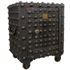 Exceptional Antique Cast Iron Hobnail Safe.