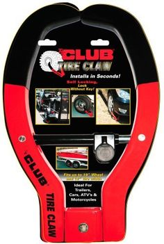 The Club #491 Tire Claw Security Device by The Club. $63.70. Finally there's a easy and secure way to protect your car, trailer, ATV or motorcycle from theft.  The Club Tire Claw installs in seconds on your car, trailer, ATV or motorcycle and makes it virtually impossible for a thief to move your property.  Unlike a chain or cable, you don't have to secure your vehicle or trailer to a fixed object, you can secure your vehicle in a campsite just as easily as in your own driveway...