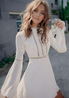 White Patchwork Lace Hollow-out Band Collar Flare Sleeve A-line Homecoming Mini Dress