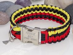 Engraved Yellow, Red & Black Paracord Dog Collar - Extra Wide