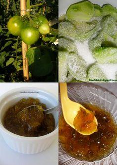 Tante Kiki: Μαρμελάδα με πράσινες ντομάτες... Preserves, Jelly, Sweet Tooth, Deserts, Greek, Sweets, Pickles, Spoon, Canning