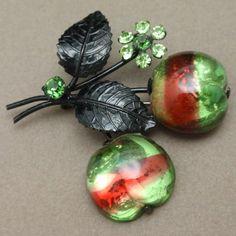 Austria Fruit Pin Vintage Striped Glass