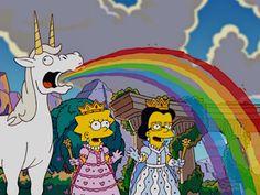 Imagem de unicorn, simpsons, and rainbow mundo de energia com Lisa e Débora nas terras de unicórnio de Assis de 1966 1026 CABELO