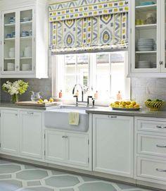 like this configuration Kitchen Redo, New Kitchen, Kitchen Remodel, Kitchen Cabinets, White Cabinets, Glass Cabinets, Kitchen Sofa, Kitchen Backsplash, Kitchen Blinds