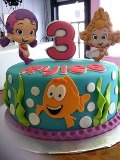 cute bubbles and seaweek Bubble Guppies Birthday Cake, Bubble Guppies Party, 4th Birthday Cakes, Bubble Party, Frozen Birthday Party, 3rd Birthday Parties, Birthday Party Favors, Baby Birthday, Birthday Ideas
