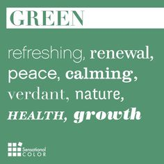 Color Meaning of Green Explained; symbolism, psychology, word associations, intrigue facts about green and how to use nature's favorite color effectively. Green Color Meaning, Green Colors, World Of Color, Color Of Life, Pantone, Midori, Color Quotes, Art Quotes, Color Meanings