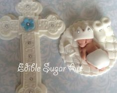 1 fondant baby girl in dress w wings 1 6 cross Fondant Cake Toppers, Fondant Baby, Fondant Figures, Biscuit, Cross Cakes, Première Communion, Christening, Baptism Gown, Baby Baptism