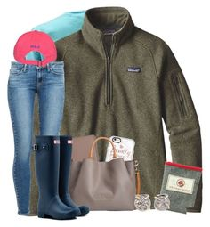 """""""ootd"""" by wiinter-blue ❤ liked on Polyvore featuring Patagonia, Paige Denim, Casetify, Kate Spade, Dooney & Bourke, Hunter, Melissa Joy Manning and Polo Ralph Lauren"""