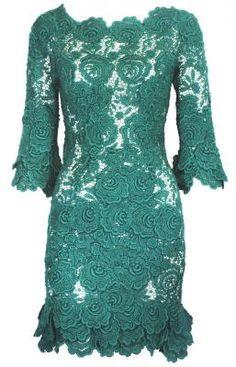 Rafael Lopez green crochet lace mini dress