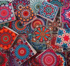 Ceramic Mosaic Tiles - Bright Colors Medallions Moroccan Tile Mosaic Tile Pieces - 35 Pieces /Mosaic Art / Mixed Media Art/Jewelry