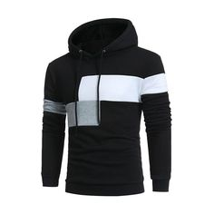 Hooded Sweatshirt Coat Jacket Winter Warm Outwear l Patchwork Color  Pullover Hip Hop Hoodies 1e9968b0356