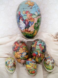 Vintage Paper Mache Easter Eggs from Germany