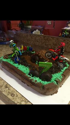 Super Ideas For Motorcycle Cake Kids Motorcycle Birthday Cakes, Motorcycle Party, Motorcycle Cake, Dirt Bike Cakes, Dirt Bike Party, Twin Birthday Cakes, Baby Boy Birthday, 5th Birthday Party Ideas, Themed Cakes