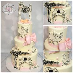 Charlottes Web baby shower cake.  Hand paintings that mimic the book drawings
