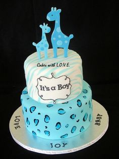 Blue Giraffe Baby Shower Cake