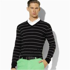 V-Neck Striped Men Business Sweater 2016 Autumn Winter Cotton pull hiver homme Cotton Casual sweter hombre Basic Pullover M-XXXL
