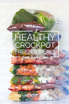 Kelly from New Leaf Wellness has a great list of 8 Healthy Crockpot Freezer Meals from Trader Joe's in 65 Minutes. Her free download includes grocery lists, recipes, and freezer labels for all of the meals.