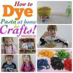 How to dye Pasta at home for Crafts! :http://pagingfunmums.com/2013/07/12/how-to-dye-pasta-at-home-for-crafts/