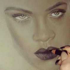 Snapshot of my newest beauty illustration of Rihanna :) #drawing #annabelle king